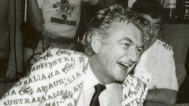 Bob Hawke famously celebrating the America's Cup win in 1983.