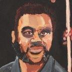 Archibald Prize finalist Vincent Namatjira's portrait of himself and Adam Goodes.