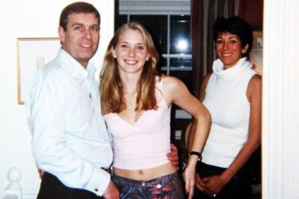 Virginia Giuffre, who is now based in Queensland, pictured with Prince Andrew in 2001. Also pictured is Epstein's then personal assistant Ghislaine Maxwell.