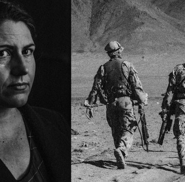 Samantha Crompvoets (left) and Australian special forces soldiers in Afghanistan.