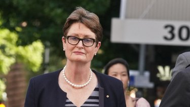Commonwealth Bank of Australia chairman Catherine Livingstone outside the banking royal commission.