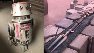 The droid R5-D4 and a Mandalorian bayonet prop from The Mandalorian.