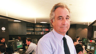 Bernard L. Madoff on his Manhattan trading floor. The financier is in prison for having masterminded the biggest Ponzi scheme in history.