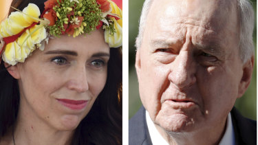 Alan Jones tells Scott Morrison to 'shove a sock down throat' of Jacinda Ardern.