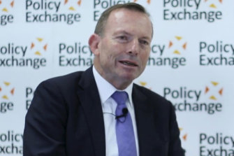 Tony Abbott speaking at the Policy Exchange thinktank in central London.