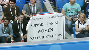 A poster to support Iranian women is displayed in the stands during the group B match between Morocco and Iran at the 2018 soccer World Cup in the St Petersburg Stadium.