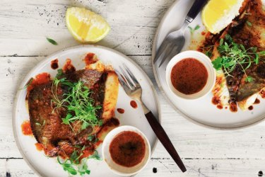 Pan-fried John Dory with smoked paprika butter.