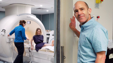 Testing the brain's structure and function with an MRI scan: Shannon Harvey with Professor Nicolas Cherbuin, head of the Centre for Research on Ageing, Health and Wellbeing at Australian National University, while makingthe documentary My Year Of Living Mindfully.