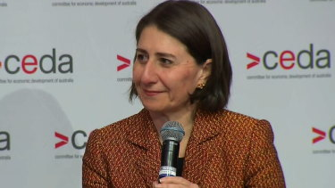 """NSW Premier Gladys Berejiklian at the CEDA event on Wednesday, where she said suppression of COVID-19 was the state's """"only option"""" in tackling the virus."""