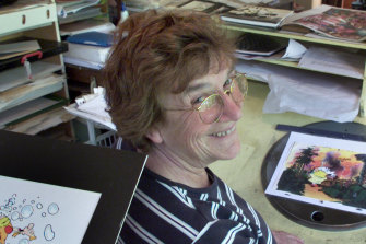 Illustrator Anne Jolliffe pictured in her studio.