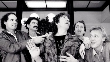 The Easybeats at a press conference at the Sebel Townhouse before embarking on a reunion tour of Australia in September 1986. Left to right: Snowy Fleet, Dick Diamond, Stevie Wright, George Young and Harry Vanda.