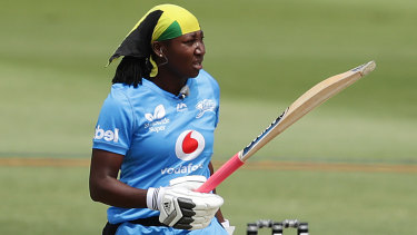 Hitting the mark: Stafanie Taylor after scoring a half-century for the Adelaide Strikers.