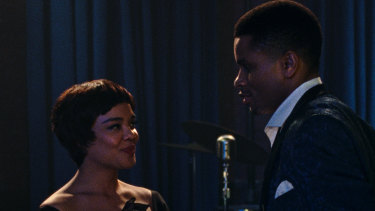 Tessa Thompson and Nnamdi Asomugha in <i>Sylvie's Love<i>.
