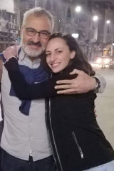Hazem Hamouda with his daughter Saja when he was released from police custody.