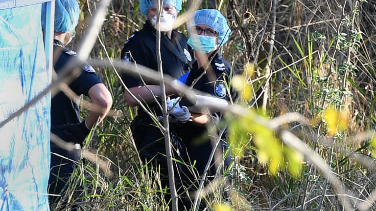 Police forensic officers inspect a crime scene where human remains were found.
