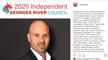 Norman Sarraf took to social media to announce his candidacy for Georges River Council during a dispute over the naming rights for Kogarah Stadium.
