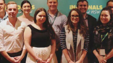 Lisa Sandford, in the white skirt, was elected to the executive of the NSW Young Nationals before being banned from the party.