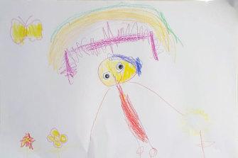 Ruby, 4, draws herself picking flowers in lockdown.