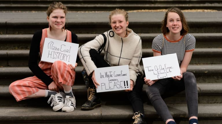Strikers Milou Albrecht, 14 , Harriet O'Shea Carre, 14 and (right) Nim, 13.