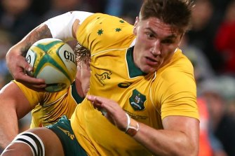 Sean McMahon in action for the Wallabies in 2016.