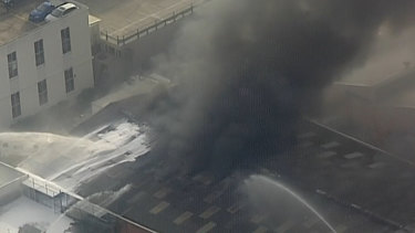 Up to 50 firefighters are fighting a fire that broke out at storage facility on Sydney's northern beaches this morning.
