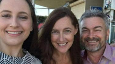 Karen Ristevksi (centre) with her daughter Sarah and husband Borce.