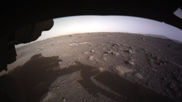 The first color image sent by the Perseverance Mars rover after its landing on Thursday, February 18, 2021.
