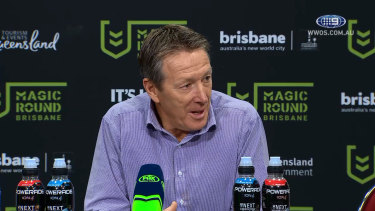 Rout: Craig Bellamy in a brighter mood after the Storm's thrashing of Parramatta in Brisbane.