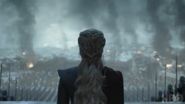 A screenshot from the teaser trailer for the final episode of 'Game of Thrones'.