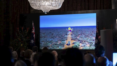 Britain's political elite are shown the video urging them to support Australia by holidaying down under.