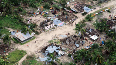Damaged communities are seen from the air over Mozambique's Ibo island.