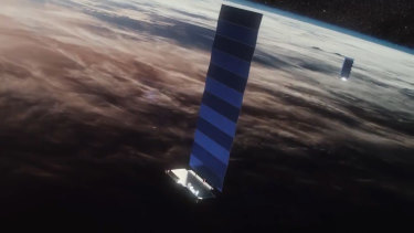 The large solar panels on the Starlink satellites may be responsible for reflecting light back to Earth.