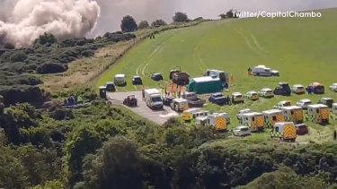 Police and paramedics responding to a train derailment in north-east Scotland.