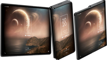 TCL's tri-fold concept phone has two hinges for three size options.