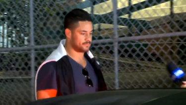 Jarryd Hayne leaving Ryde police station on Monday.