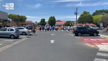 Supermarket queues are stretching into car parks.