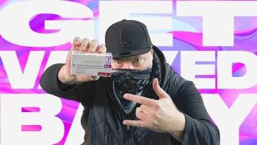 Radio shockjock Kyle Sandilands in his Get Vaxxed Baby video.