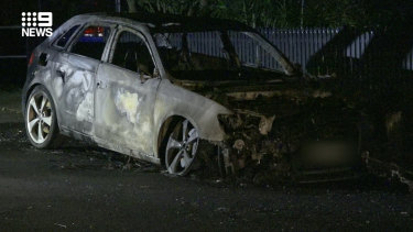 A burnt-out Audi was found on a street in Norwood.