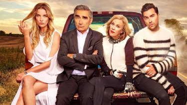 The Rose family of the popular Schitt's Creek series. The sixth and final series has just aired in the US.