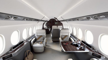 The inside of the  Dassault Falcon 7X.