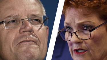In Queensland, many of the votes that ultimately made the difference for Scott Morrison were not, in their first preference, for the Coalition but for Pauline Hanson, pictured, and her One Nation party, and for Clive Palmer's United Australia Party.