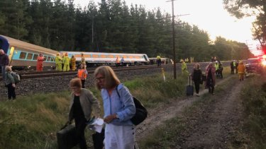 The scene after a Sydney to Melbourne XPT derailed, killing two people.