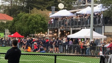 Police were called to Eastern Suburbs Rugby Club on Saturday afternoon amid social distancing concerns.