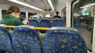 T2 Inner West trains were close to empty during the morning peak on Tuesday.