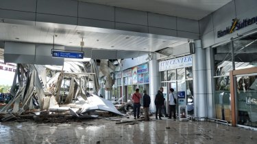 The damage to Palu airport, near the centre of the disaster zone.