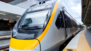 One of the 75 New Generation Rollingstock trains purchased for use in Queensland.