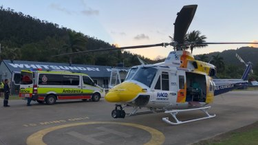 The rescue helicopter arrived with a doctor and critical care paramedic on board at Whitsundays Airport.