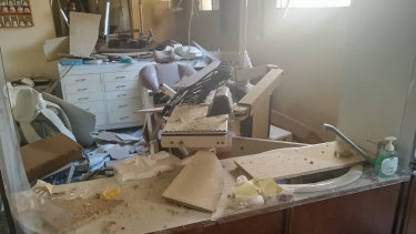 A dentist's surgery in Beirut that was destroyed in the blast.