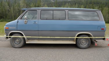 The blue 1986 Chevrolet van bearing Alberta licence plates that was located at the scene where Lucas Fowler and Chynna Deese's bodies were discovered