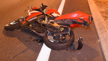 The motorcycle involved in the crash.